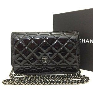 CHANEL Quilted Patent Wallet On Chain WOC BrandNew